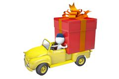 Little man transports a gift by the lorry Stock Illustration