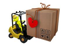 Stock Illustration of yellow little man loads a parcel on a loader