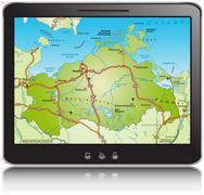 Map of mecklenburg-western pomerania as a mobile phone with highways Stock Illustration