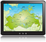 general map of mecklenburg-western pomerania as a mobile phone - stock illustration