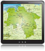 general map of lower saxony as a mobile phone - stock illustration