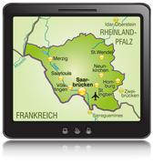 general map of saarland as a mobile phone - stock illustration