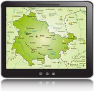 general map of thuringia as a mobile phone - stock illustration