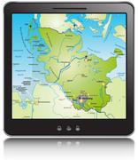 General map of schleswig-holstein as a mobile phone Stock Illustration