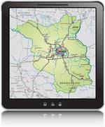 Map of brandenburg as a mobile phone with highways Stock Illustration