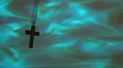 Holy water concept cross Stock Footage