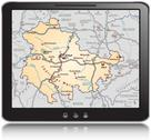 Map of thuringia as a mobile phone Stock Illustration
