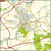 map of erfurt - stock illustration