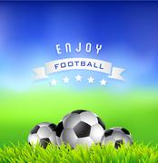 Football  soccer  balls on green field - sport background Stock Illustration