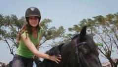 12of12 People in resort enjoying horseback riding, woman, fun Stock Footage