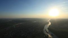 Aerial View: Sunset. Mezhdurechensk. Mountain Shoria, South Siberia, Russia. Stock Footage