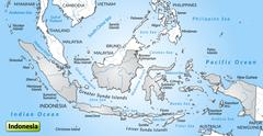 map of indonesia as an overview map in gray - stock illustration