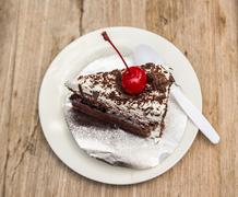 Cake on the plate - sweet food Stock Photos