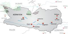 map of kaernten as an overview map in gray - stock illustration