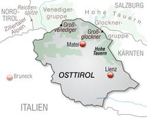 Stock Illustration of map of east tyrol as an overview map in gray