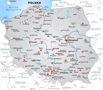 Stock Illustration of map of poland as an overview map in gray