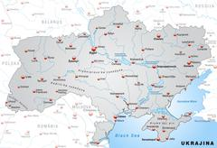 Stock Illustration of map of ukraine as an overview map in gray