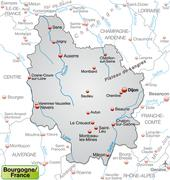 Map of burgundy as an overview map in gray Stock Illustration