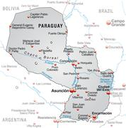 Map of paraguay as an overview map in gray Stock Illustration