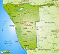 Stock Illustration of map of namibia as an overview map in green