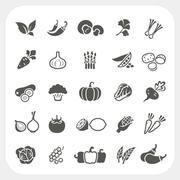 Vegetable icons set Stock Illustration