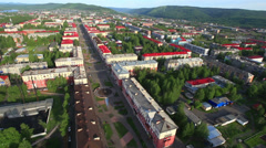 Aerial View: Mezhdurechensk City. Mountain Shoria, South Siberia, Russia. Stock Footage