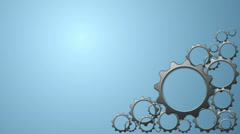 Animated 3d gears on blue background. - stock footage