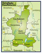 Stock Illustration of map of ostallgaeu kaufbeuren as an overview map in green