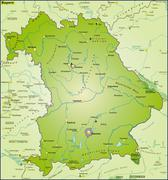 Map of bavaria as an overview map in green Stock Illustration
