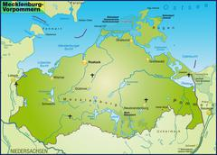 Stock Illustration of map of mecklenburg-western pomerania as an overview map in green