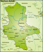 map of saxony-anhalt as an overview map in green - stock illustration
