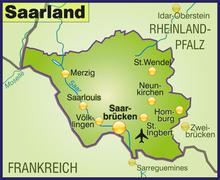 Map of saarland as an overview map in green Stock Illustration