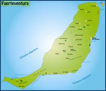 Map of fuerteventura as an overview map in green Stock Illustration