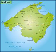 Map of mallorca as an overview map in green Stock Illustration