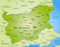 Map of bulgaria as an overview map in green Stock Illustration