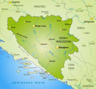 Map of bosnia and herzegovina as an overview map in green Stock Illustration