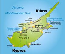 Map of cyprus as an overview map in green Stock Illustration