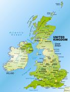 map of england as an overview map in green - stock illustration