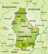 Stock Illustration of map of luxembourg as an overview map in green