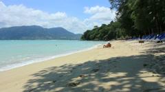 Tropical Tri Trang beach located near Patong beach in Phuket island Stock Footage