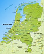 Map of netherlands as an overview map in green Stock Illustration