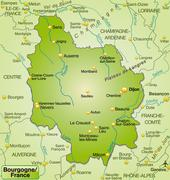 map of burgundy as an overview map in green - stock illustration