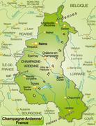 Map of champagne-ardenne as an overview map in green Stock Illustration