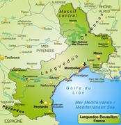 map of languedoc-roussillon as an overview map in green - stock illustration