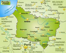 map of picardie as an overview map in green - stock illustration
