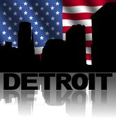 Detroit skyline and text reflected with rippled american flag illustration Piirros