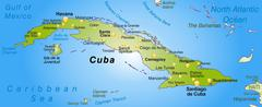 Stock Illustration of map of cuba as an overview map in green