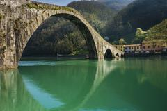 devil's bridge, borgo a mozzano, italy - stock photo