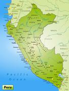 Stock Illustration of map of peru as an overview map in green