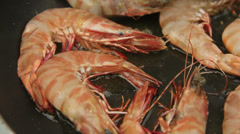 Whole Green Shrimps Frying In pan Stock Footage